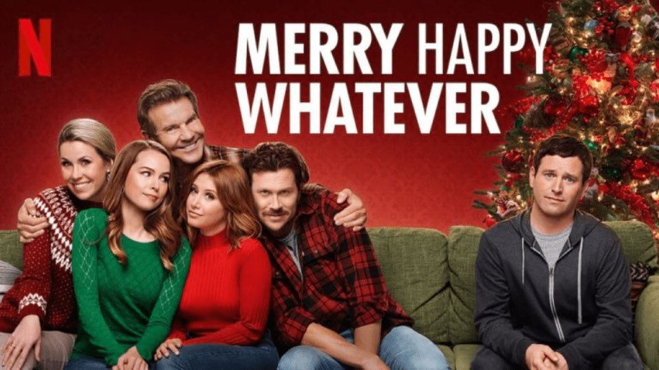 """204 days until #Christmas! If you're in need of a quick dose of the Christmas spirit, check out """"Merry Happy Whatever"""" on Netflix.  It's an 8 episode quirky rom-com that follows a family through the holidays."""