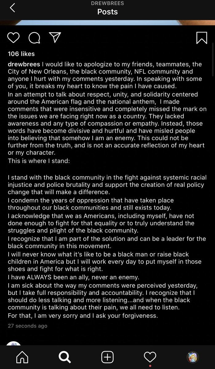 An apology from #Saints QB Drew Brees: https://t.co/iwxbC6FsNu