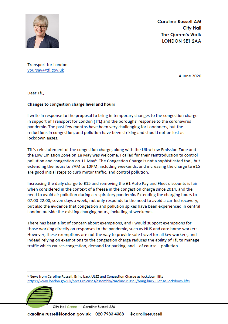 Transport for London is right to be increasing the congestion charge later this month, and I have written to support the changes with a few concerns. You can respond here: tfl.gov.uk/modes/driving/…