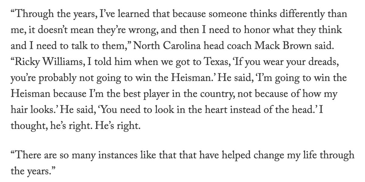 Remarkable quote from Mack Brown on Ricky Williams: theathletic.com/1851097/2020/0…
