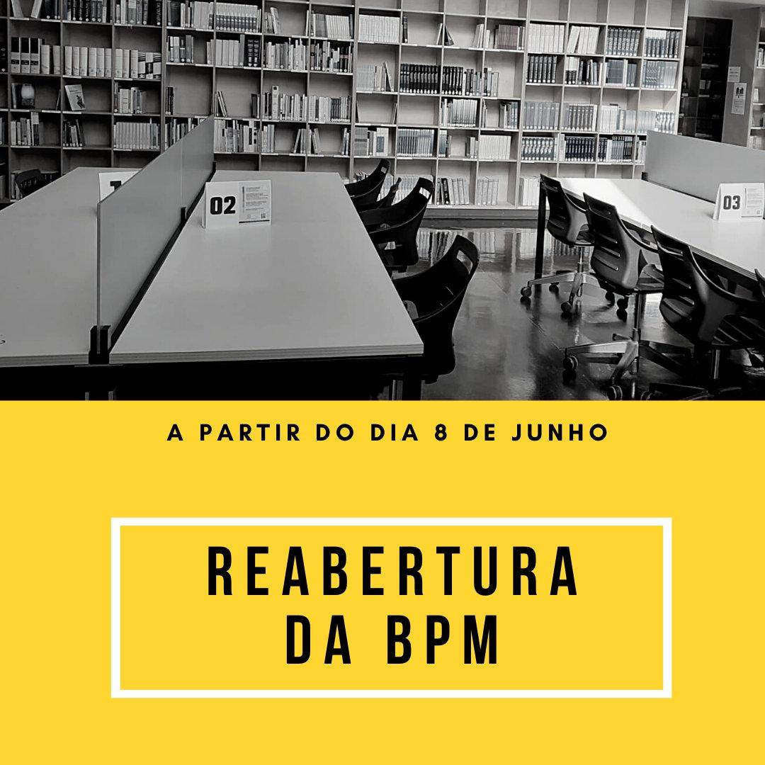 Reabertura da Biblioteca Prof. Joaquim Pinto Machado (BPM), dia 8 de junho. Mais informação em https://t.co/LlKU7jytGE https://t.co/SeRY9w1gmG