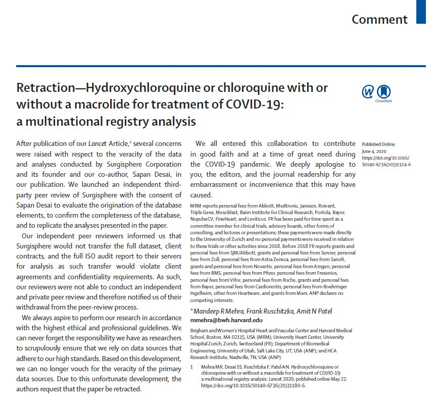 """Today, three of the authors have retracted """"Hydroxychloroquine or chloroquine with or without a macrolide for treatment of COVID-19: a multinational registry analysis"""" Read the Retraction notice and statement from The Lancet https://t.co/pPNCJ3nO8n https://t.co/pB0FBj6EXr"""