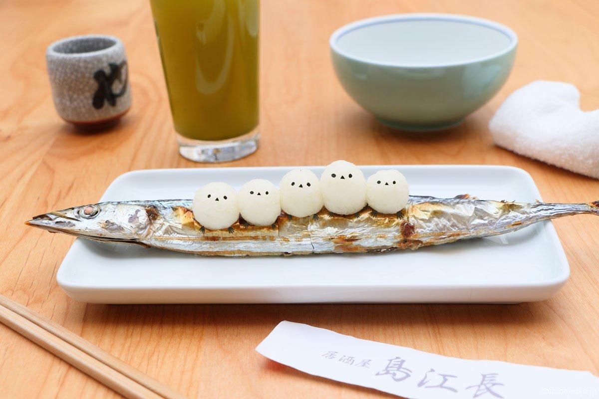 居酒屋「島江長」開店だよ〜!いろんなお皿にシマエナガが乗っていて可愛い!!