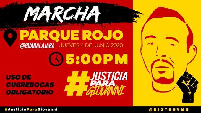 Hoy 5:00 pm, Parque Rojo, #Guadalajara.  Manifestación de repudio y exigencia de justicia por el artero asesinato de Giovanni. La policía y el discurso fascistoide de @EnriqueAlfaroR lo mataron por no portar cubrebocas en la vía pública. #JusticiaParaGiovanni https://t.co/ZbIQda1OHW