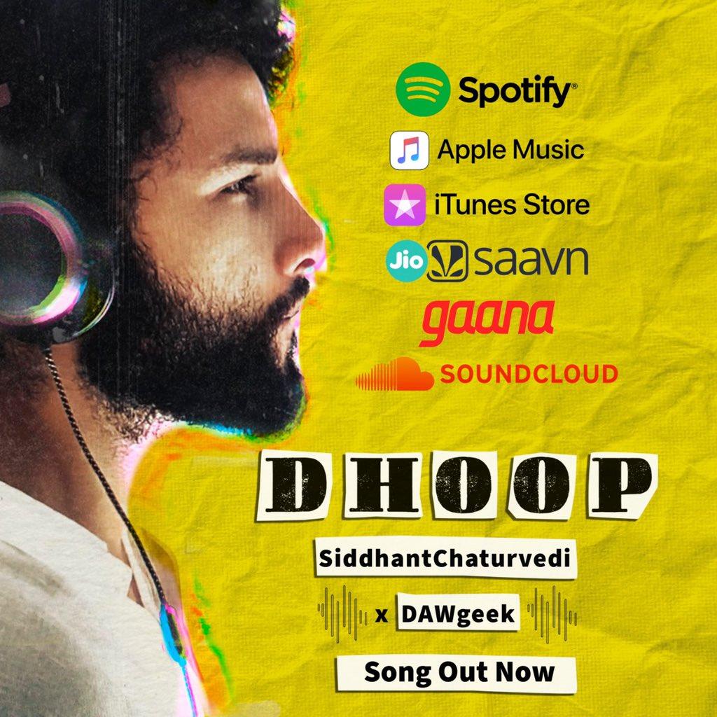 #DHOOP now available on @spotifyindia @AppleMusic @iTunes @JioSaavn @gaana @SoundCloud  🎧👇 https://t.co/VfHabJbQaK https://t.co/4XzkToRXfq