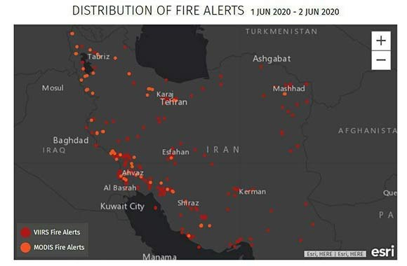 Map shows #Iran's mysterious fires from June 1-2.