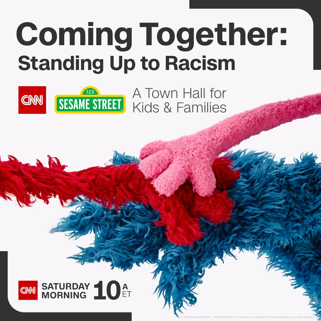 Sesame Street is joining @CNN this Saturday for a Town Hall to help kids and families discuss racism and the protests taking place nationwide, build empathy, and embrace diversity. Watch the hour-long special this Saturday June 6 at 10 am ET. #CNNSesameStreet