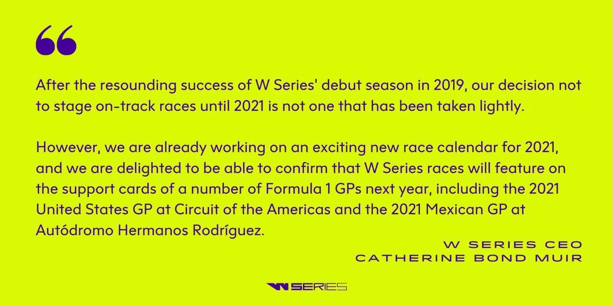 W Series CEO, @bondmuir on today's announcement.   https://t.co/5YMaXlL6Qr | #WSeries https://t.co/QpWGIboCzP