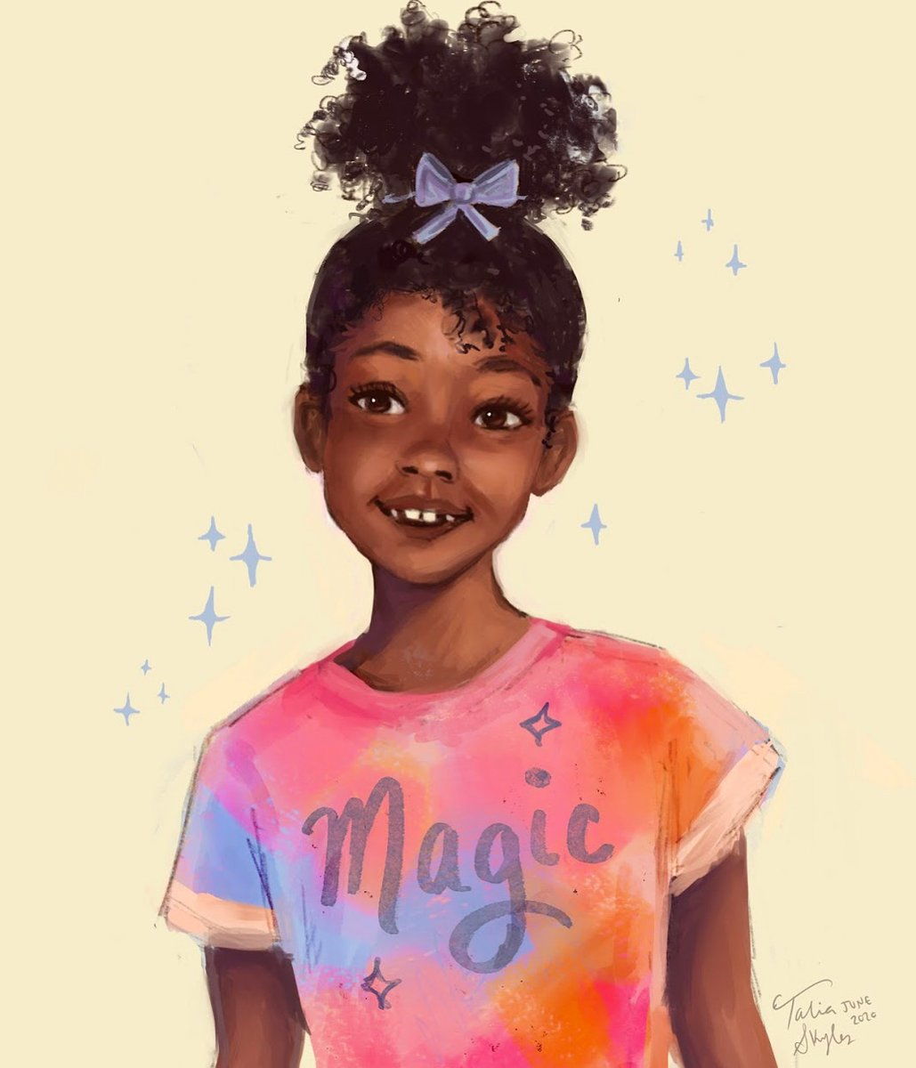 Here's a recent commission I made for a mom whose daughter was being teased at school for her curly hair texture. I hope this piece shows her how magical she really is ❤️ #blackgirlmagic https://t.co/7CeFbZYZW2