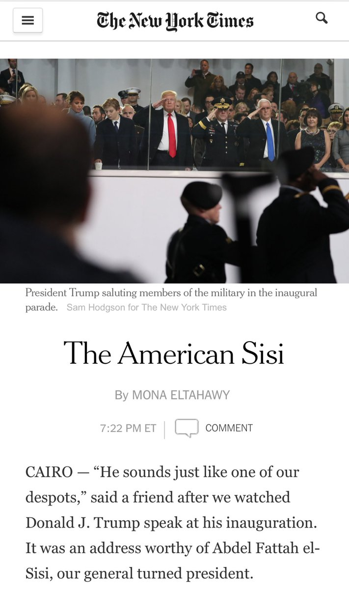 """Soon after I wrote this for the NYT, calling Trump the American Sisi (L), a pro-regime newspaper in #Egypt """"punished"""" me by putting my picture on the front page under a banner headline that called me a """"sex activist"""" (translation: whore). (R) I was living in #Cairo. pic.twitter.com/gpnwQSFHhX"""
