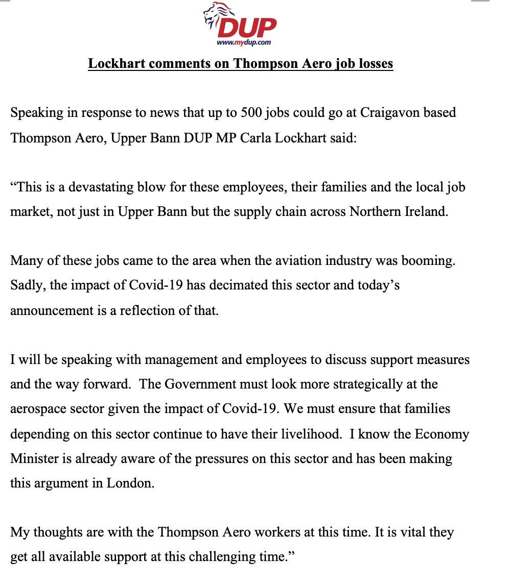 Statement from Upper Bann MP @carlalockhart twitter.com/BBCNewsNI/stat…