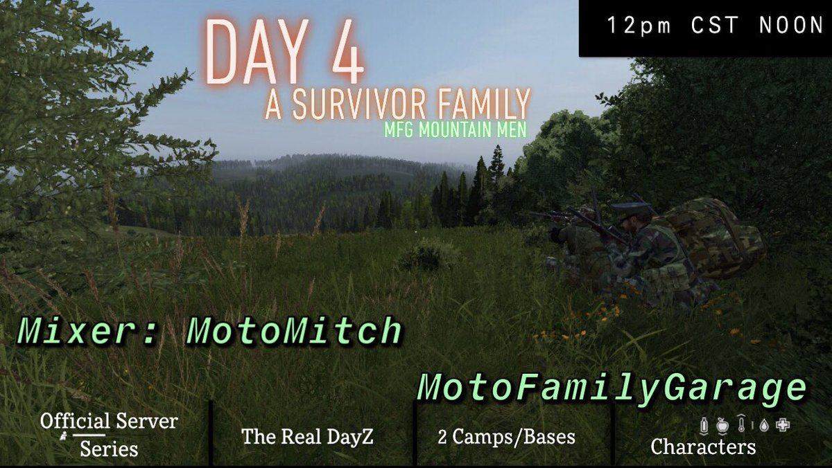 🚨 12 PM CST we are LIVE 🚨  On @DayZ Day 4 | A Survivor Family  Today we go into a whole new day with new objectives and goals out in the apocalypse.  A family of survivors building a life together💪  🔥In 2 hours at 12 PM CST noon🔥  #mixer #streamer #DayZ #myDayZ #gamer #MFG