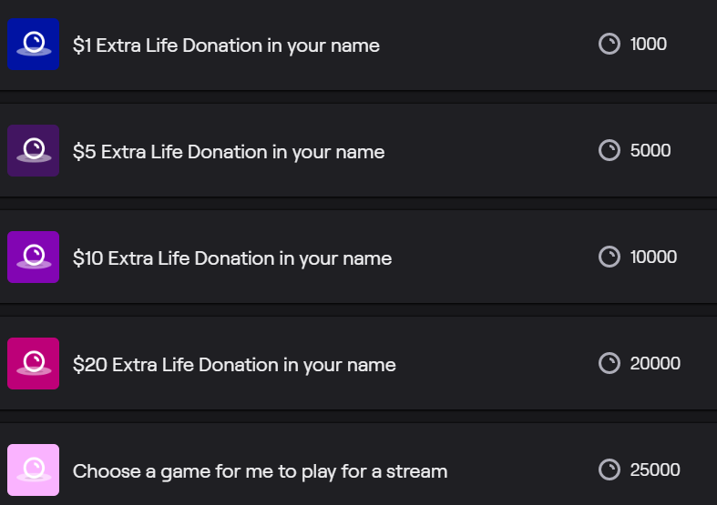 Finally got around to adding some Twitch channel point options that kick off on our stream tonight! More ways for you to help kids!  #EXTRALIFE #ForTheKids #SupportSmallerStreamers #Twitch #Twitchkittens
