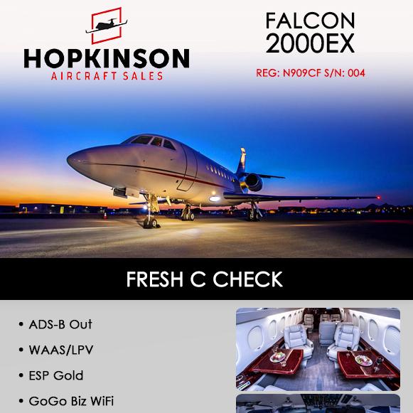 #Falcon #2000EX availabe at @HopkinsonACSale  Fresh C check ADS-B Out More details at: https://t.co/Z4mF3tBbn7  #bizjet #bizav #aircraftforsale #privatejet #privateflying #jetforsale #businessaviation https://t.co/Eq4flCTcqW
