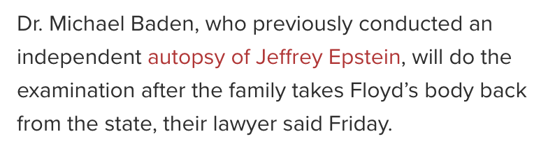 The same doctor who performed the autopsy on Jeffrey Epstein is doing the autopsy on George Floyd... https://t.co/9OMHThmtET
