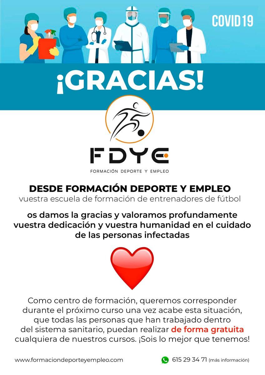 HEMOS REGALADO 30 CURSOS DE TECNICO DEPORTIVO EN FUTBOL A PERSONAL SANITARIO, FARMACEUTICOS, LIMPIADORAS Y FUERZAS DEL ORDEN.  DE CORAZON ¡¡¡¡¡¡GRACIAS!!!! https://t.co/u2SpsMaa4c