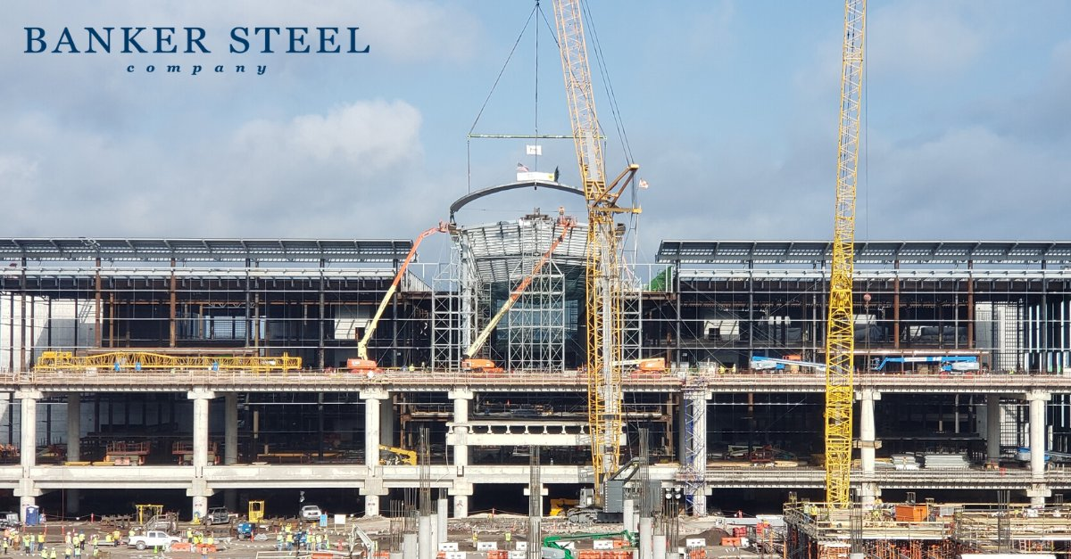 """One week ago, the iconic piece crowning the South Terminal Complex at The Orlando International Airport was set in place. The raising of this distinctive architectural feature, known as """"The Prow,"""" represents the official topping out of yet another successful Banker Steel job."""