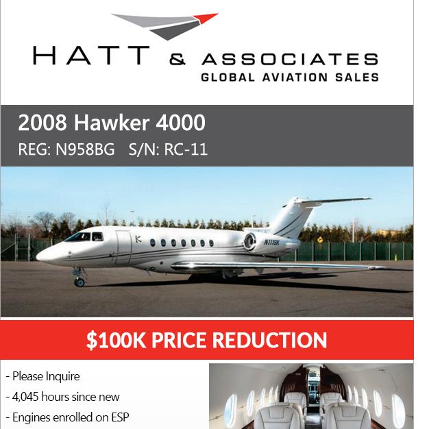 2008 #Hawker 4000 available at @Hatt_Aviation    Engines enrolled on ESP Exterior paint and interior refurbishment in July 2018 More details at: https://t.co/JnbTT8dfFb  #bizjet #bizav #aircraftforsale #privatejet #privateflying #jetforsale #businessaviation https://t.co/wZ9SsBmMpx