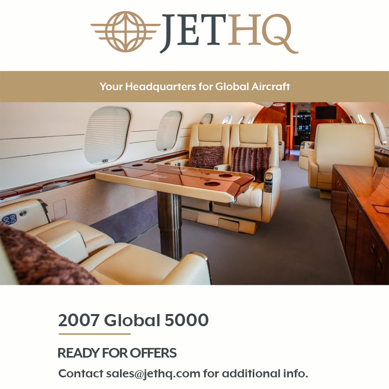 2007 #Global 5000 available at @JetHQAv    Low time ADS-B Out More details at: https://t.co/zZS05LSNh8  #bizjet #bizav #aircraftforsale #privatejet #privateflying #jetforsale #businessaviation https://t.co/51fIdx6Z6A