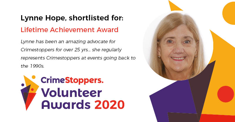 Our 2nd shortlisted nomination for the Lifetime Achievement Award 2020 is Lynne Hope. See the other nominees: bit.ly/2yQJmhJ. Winner revealed tomorrow. Today you can get involved with volunteering for us here: bit.ly/2kQaPpb #VolunteersWeek.