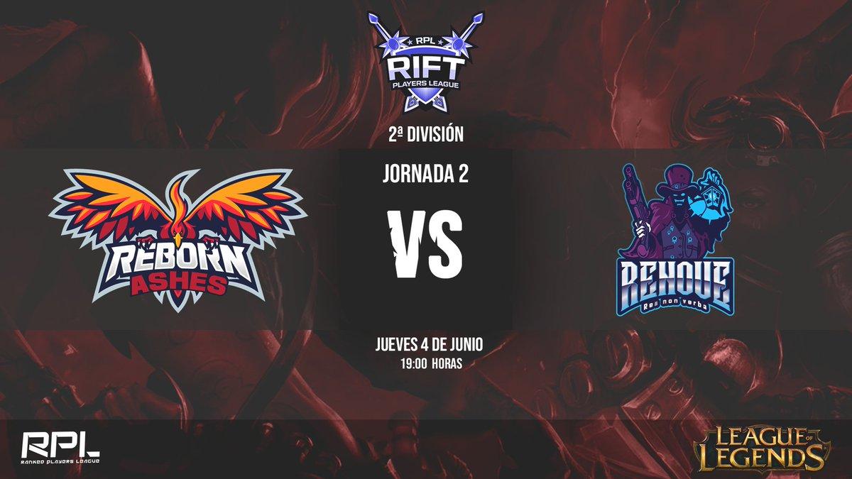 ¡Hoy juega Ashes! #MATCHDAY ⬇️⬇️  ⚔️ #LOL  🕘 19:00  🏆 #RiftPL 2ª división @RankedPlayers   🗓️ 2ª jornada  🆚@EsportsRenove   El partido será retransmitido en el canal de Twitch de @RankedPlayers  🖥️   #BurningYourLimits 🔥