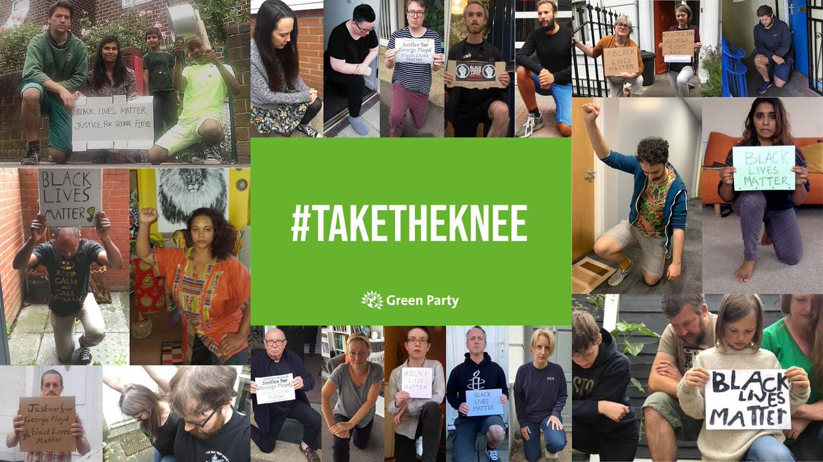Yesterday @TheGreenParty members across the country joined #TakeTheKnee protests But it's time for actions too. We're fighting for: 🌱 An independent BAME #Covid19 report 🌱 Justice in our policing. An end to being singled out 🌱 A halt to sales of tear gas to the US