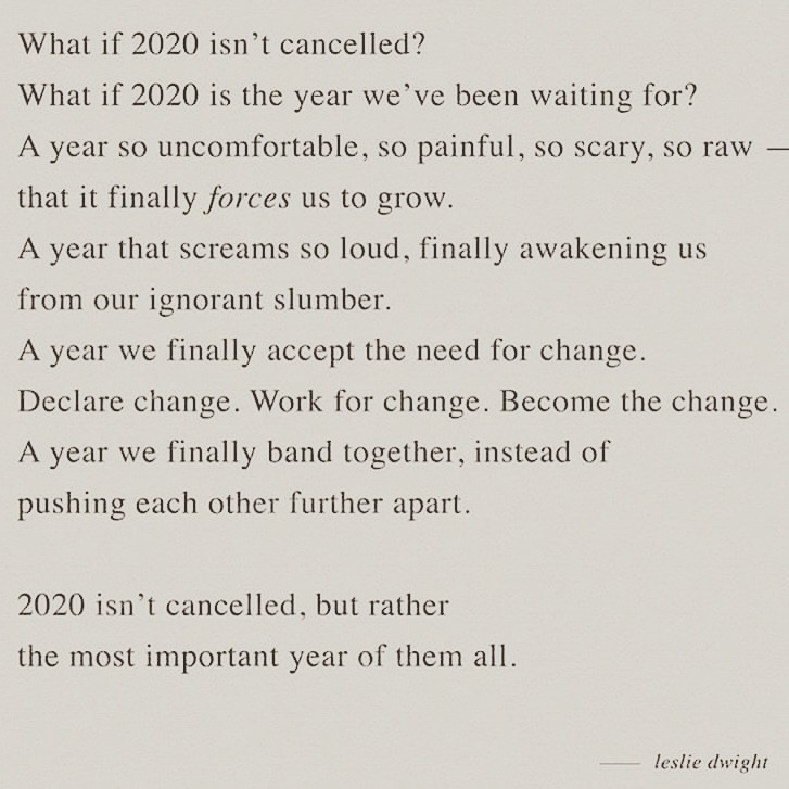 Take this time to be open to change.  2020 can be our greatest teacher. #BlackLivesMatter #change #ComeTogether #spirit #spiritualitypic.twitter.com/IS4hHWQRWA