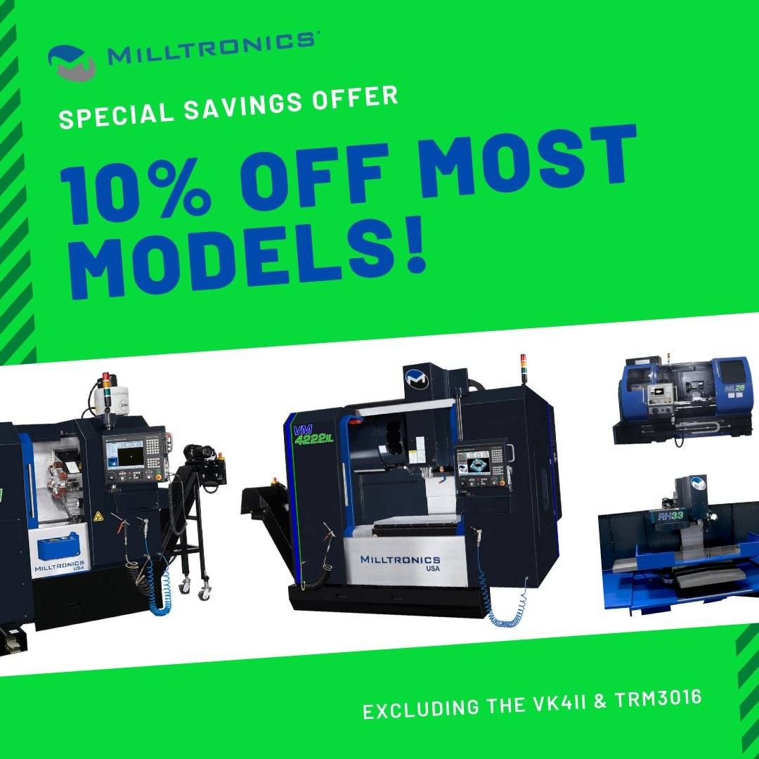 Are you in the market for a new machine tool? Milltronics is currently offering 10% off most models, excluding the VK4II and TRM3016.  Use the link provided to find out more! https://hubs.ly/H0r1rHz0  #milltronics #cnc #cncmachine #cncmill #cncmachining #cncmachinistpic.twitter.com/3OYQz3HBDO