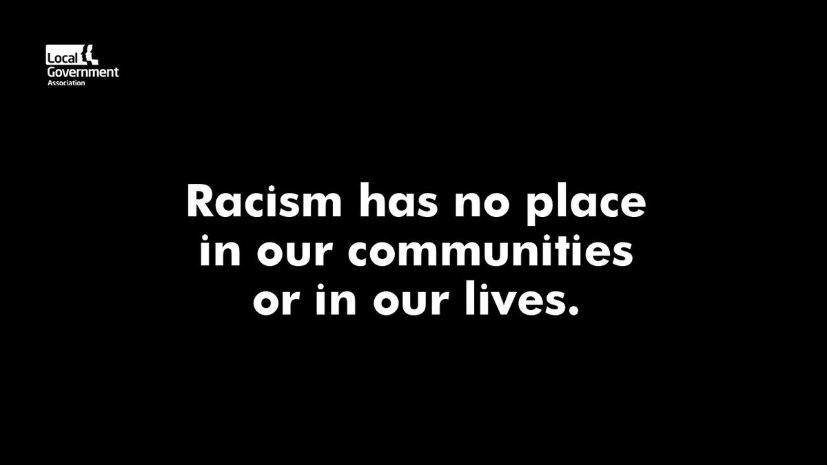 RT @LGAcomms 'We stand with councils in the UK & the world in their work to tackle racism.  We must all take part in the much-needed conversation on how to confront & end it. #LocalGov is listening.'  Joint statement from our Chairman, Group Leaders & Equalities Lead: https://t.co/4OqEs3Fuuh