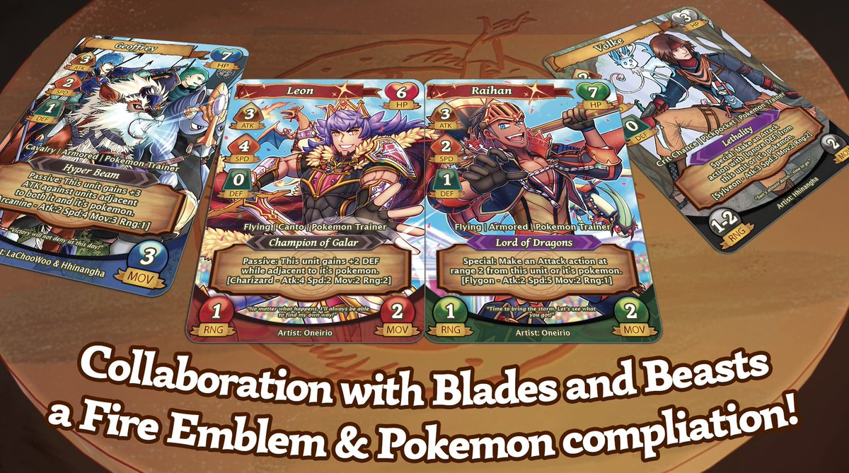 We have a SUPER SPECIAL announcement today. In collaboration with @fepokezine, we are bringing you a set of #Pokemon #FireEmblem crossover cards! To get them added to your Annas Roundtable shipment, pre-order their digital zine in the next 48 hours! gumroad.com/l/BxZma