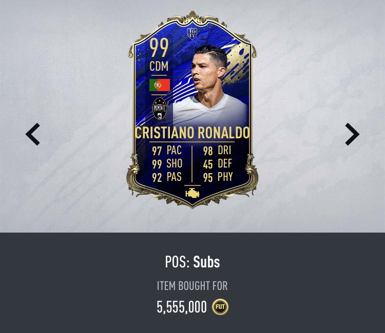 🐐 Giveaway    TOTY CR7  🇵🇹 🤩  To enter:   Retweet ✅   Follow @Piquelme20 ✅   Winner will be drawn June 5th    *Will be listing for snipe* (Min 630k needed)  #FIFA20 https://t.co/fuLvW19LRV