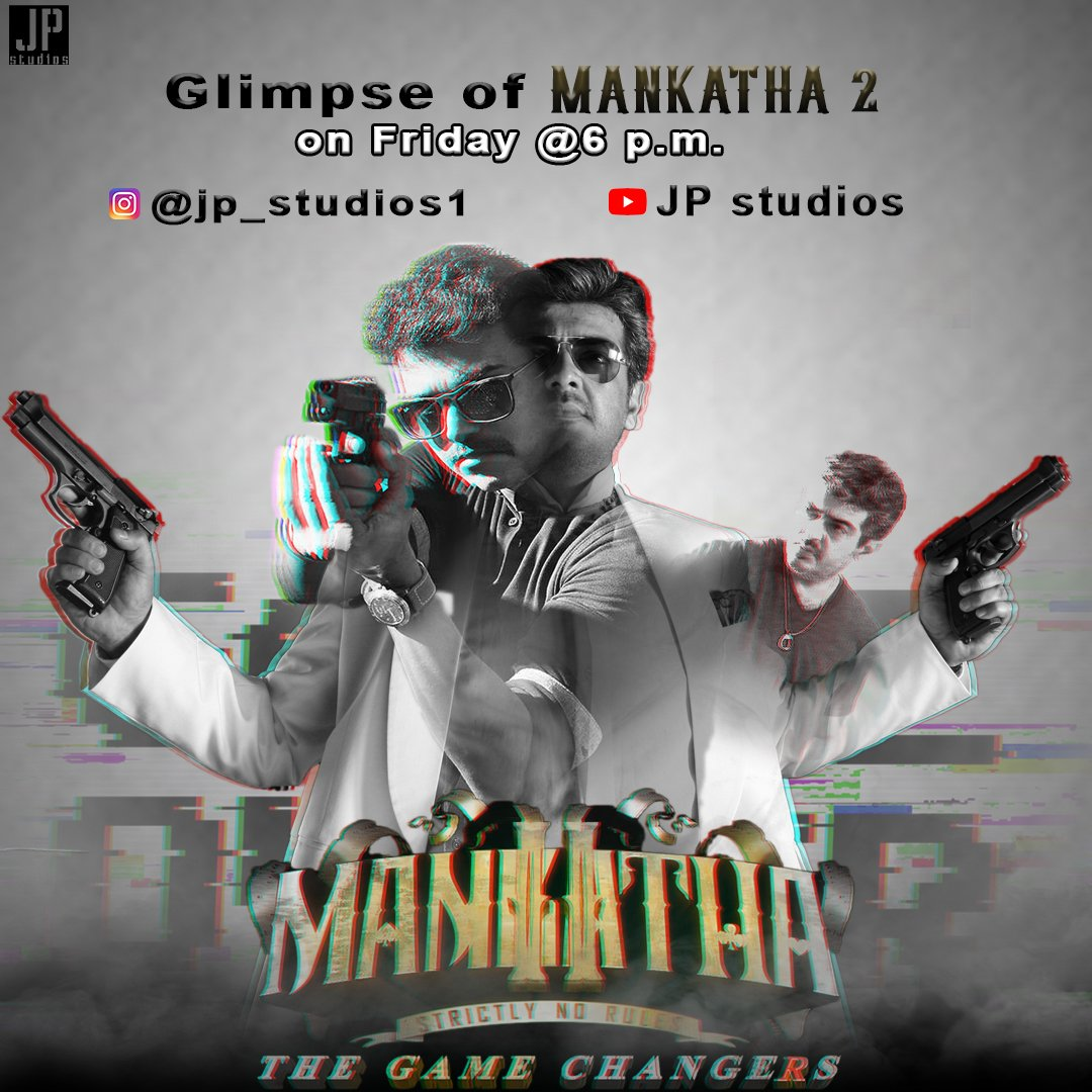 Glimpse of Mankatha 2 ..Relasing on  tomorrow at 6 p.m.  Channel Link - https://m.youtube.com/channel/UCFTDb4PrvMdj5ysiNOekIuA?view_as=subscriber … #Master @actorvijay  @AjithkumarActor @vp_offl @Atlee_dir #Thalapathy65 #ThalapathyVijay #ThalaAjith #ThalaThalapathy #Valimai #MasterTrailer #Mankatha2 #Mankathapic.twitter.com/c39tTJ9fTp