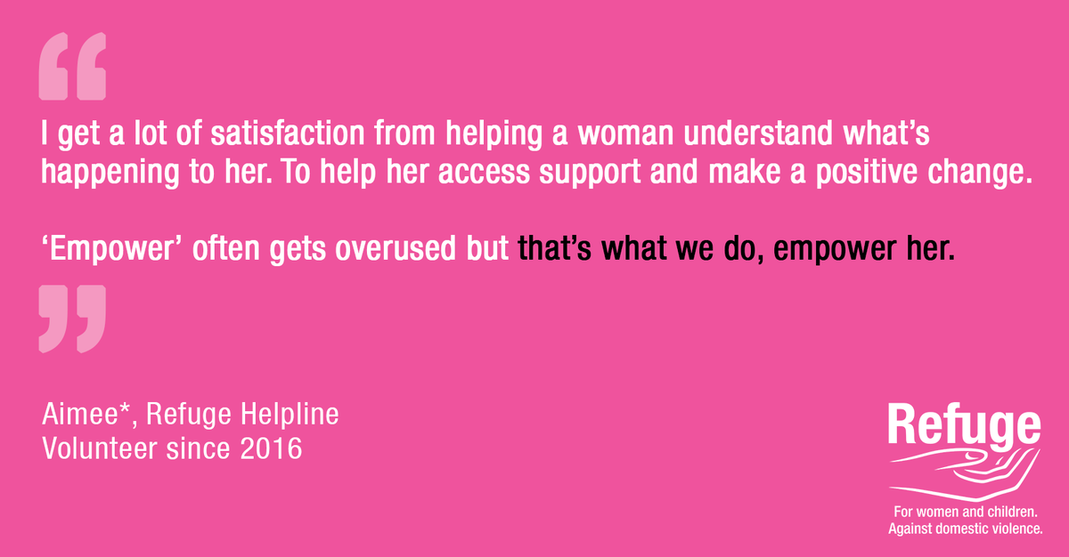 For #VolunteersWeek weve been speaking so some of our amazing National Domestic Abuse Helpline team who are highly trained to support survivors. Aimee* shares her experience: facebook.com/RefugeCharity/…