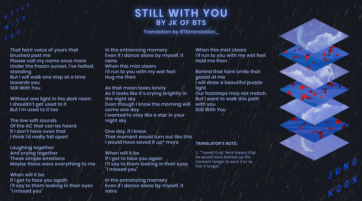 "STILL WITH YOU BY JUNGKOOK  LYRICS TRANSLATION    ""Behind that faint smile that gazed at me I will draw a beautiful purple light""  #StillWithYou #Jungkook #JK #thankyou2020JK #AlwaysWithJK @BTS_twt<br>http://pic.twitter.com/cPiJgyoSnd"