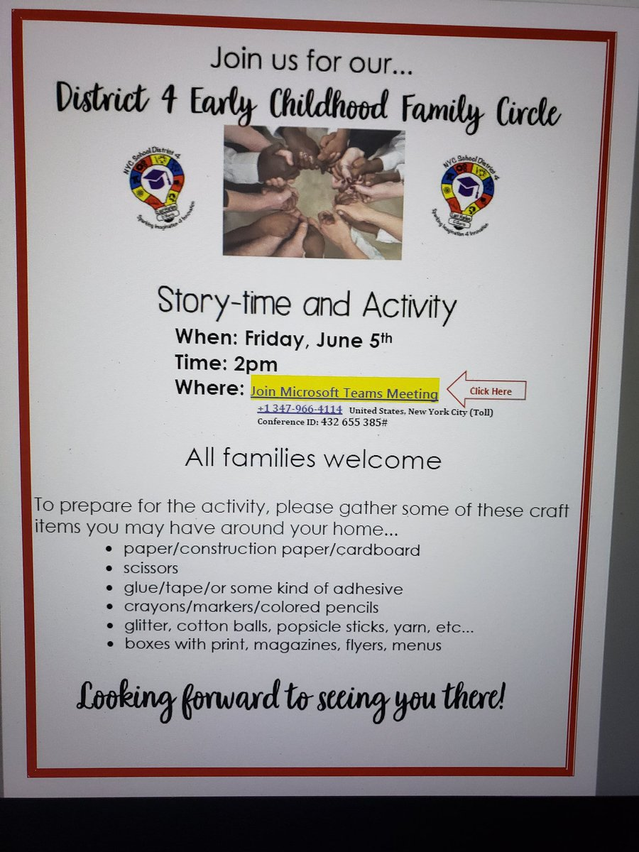 District 4 EARLY CHILDHOOD STORY-TIME & ACTIVITY Friday,  June 5 beginning at 2PM!  All families welcome! @phprepnyc @PSMS206M @PS38RCLC @m_ps102 @ps155D4 @TAGPTA @PS96ACT @PS83D4 @PSMS57JamesWel1 @LexingtonAcade3 @1ManhattanTeam @pretto_david @aestrel3 @DianaAyalaNYC https://t.co/nZXW6VtTQL