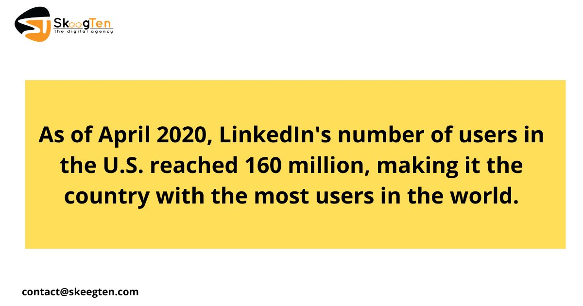 As of April 2020, LinkedIn's number of users in the U.S. reached 160 million, making it the country with the most users in the world   #digitalmarketing #socialmediamarketing <br>http://pic.twitter.com/AHKbDuEwYY