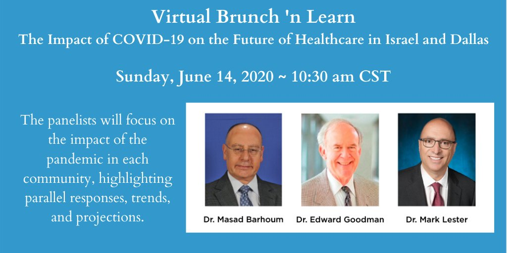 "The Federation's Partnership is sponsoring a Virtual Brunch 'n Learn: ""The Impact of COVID-19 on the future of Healthcare in Israel and Dallas"" Sunday, June 14, 10:30 am, CST, Register at https://t.co/GRG6JAgFvZ #jewishdallas #jewish #jewishcollective https://t.co/C1RVJERdFu"