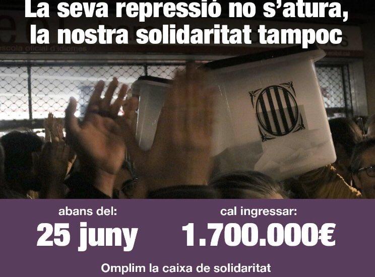 """Ara els amics @jmjovellado i @LlSalvado ens necessiten a totes i tots. La seva causa judicial és un episodi més per """"intimidar """" a qui pretengui donar i posar la decisió del futur polític de Catalunya en mans de la ciutadania. Responem-hi també amb la nostra solidaritat activa."""