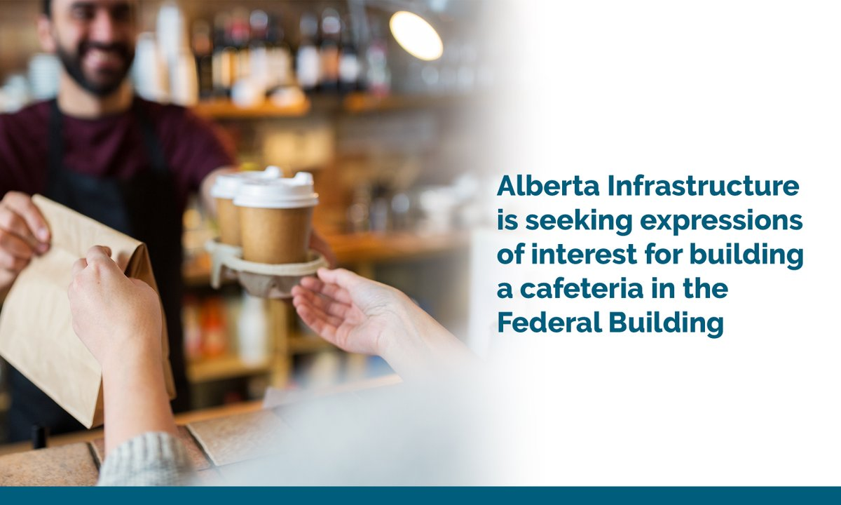 Hey #ableg folks, Alberta Infrastructure is seeking expressions of interest for a cafeteria/coffee shop in the Edmonton Federal Building.   Chains, independents, or social enterprises - we'd love to hear from you! #YEG #YEGeats @edmontonchamber https://t.co/VEyGtFIswO https://t.co/rfBQIn2BIY
