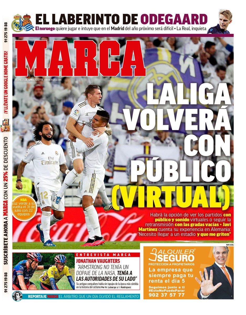 #LaPortada 'La Liga volverá con público (virtual)' 🗞 https://t.co/oxAFWDbdNV