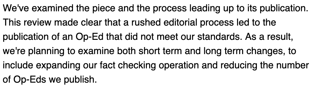 NEW: Times spokeswoman sends mea culpa