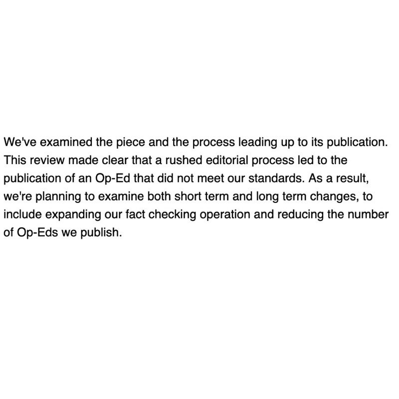 The New York Times has just issued this statement about the op-Ed.   @JBennet and @jimdao you need to resign. https://t.co/lbMCL13Si5