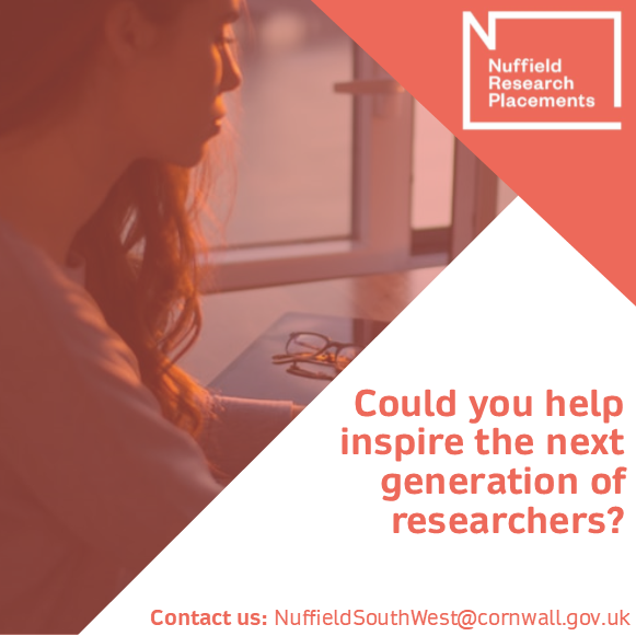 Do you work in medical research and want to help the next generation of researchers or know someone who does?   Contact Us: NuffieldSouthWest@cornwall.gov.uk   #NuffieldSummer #Research #STEM #Medicine #Pharmaceuticals #Careers @NuffieldFound https://t.co/lDVBiXPn2f
