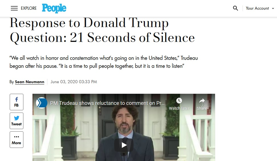 PM Justin Trudeau featured in PEOPLE MAGAZINE for His Response to Donald Trump Question: 21 Seconds of Silence Conservatives, Trudeau Haters & Canadian Trump Supporters will GO THRU THE ROOF!!!! people.com/politics/justi… #cdnpoli