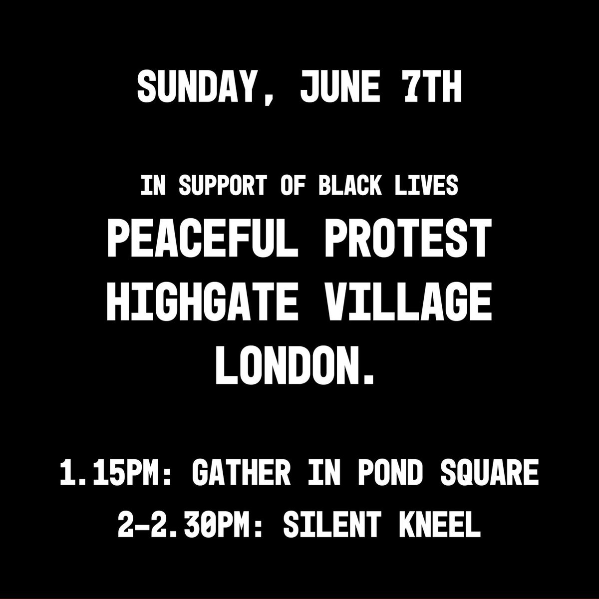 I want to support#blacklivesmatter, share anti-racism resourcesand support the NHS by staying local and avoiding crowds, especially as they brace themselves for a second wave and as BAME people are some of the worst effected by the virus. Join me this Sunday. Wear a mask.