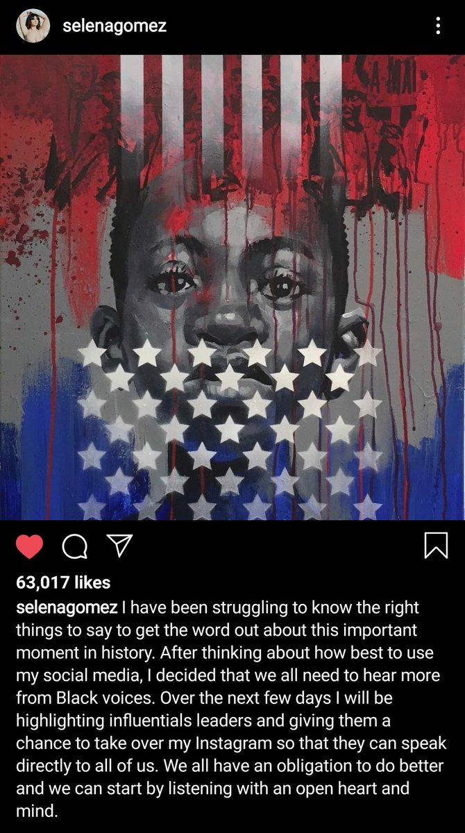 for the next few days, selena gomez is going to give her instagram to influential black leaders to speak about important issues...i love her sm <br>http://pic.twitter.com/QkISJc18GP