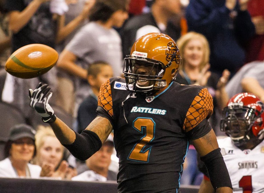 #TBT to Rattlers legend WR Maurice Purify: Mo helped lead the Ratters to 3 Arena Bowl Championships and was named All-Arena in 2012. He finished his arena career with 488 receptions for 6,769 yards and 167 touchdowns! #StrikeAsOne 🐍 https://t.co/BAvnUdGlEN