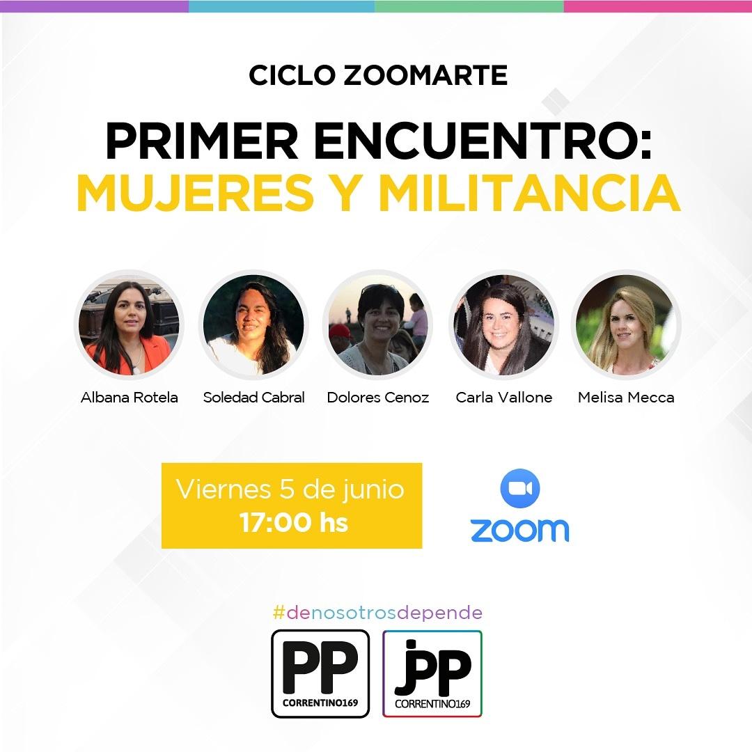 """#CicloZoomarte: """"Mujeres y militancia"""" Organizando por @jppcorrientes.   Viernes 5 de Junio.  17hs. Unirse a la reunión Zoom https://us02web.zoom.us/j/9804306274  ID de reunión: 980 430 6274 #PartidoPopular #Mujerespic.twitter.com/Y7MHoYUhyy"""