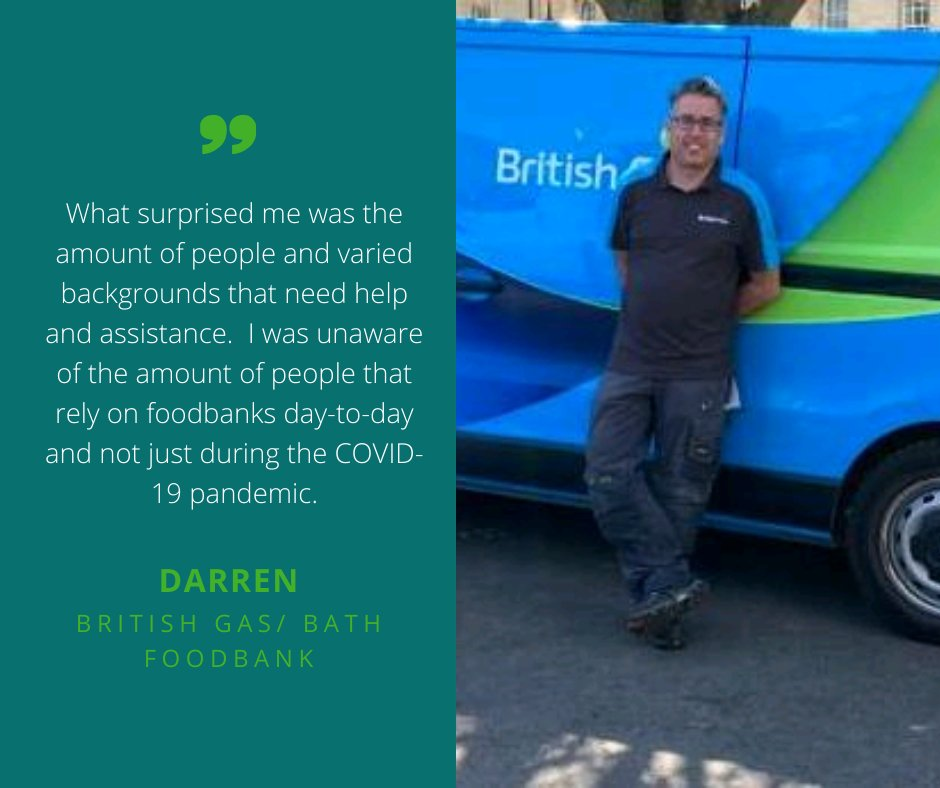 Darren is one of the British Gas volunteers that has been helping the @BathFoodbank to deliver emergency food parcels to people. You can read his experience of volunteering with us here: https://t.co/1MGrw2Peqi #VolunteersWeek @TrussellTrust @BritishGasNews https://t.co/an0AOQ5QpD