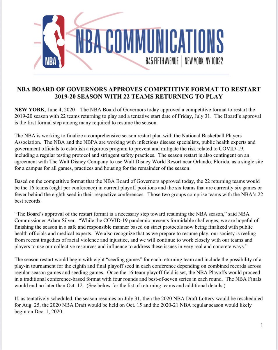 Full statement from the NBA on its return.